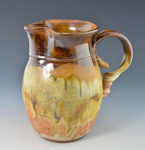 "Handmade Water / Milk Pitcher 7.75"" in Caramel Brown over Southwest Glaze"