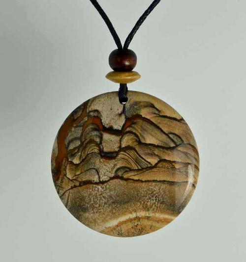 Rock Art Polished Stone Pendant Jewelry, Picture Jasper, Tan, Brown