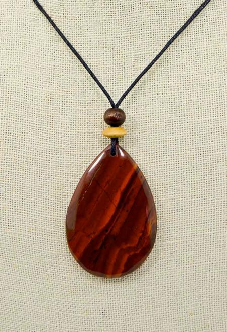 Rock Art Polished Stone Pendant Jewelry, Red Jasper Teardrop