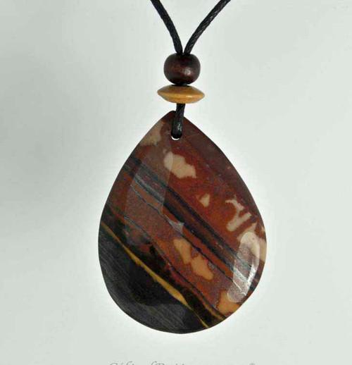 Rock Art Polished Stone Pendant Jewelry, Tiger Iron, Brown, Black