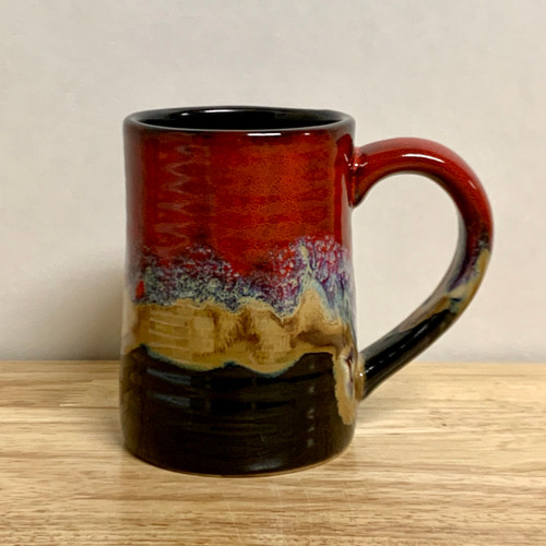 Handmade Pottery Desert Red / Black Tankard Mug 16 oz
