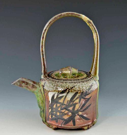 Handpainted Asian Motif Teapot Green, Rust and Gray