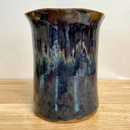Handmade Pottery Utensil Holder/Wine Chiller in Peacock Blue Glaze
