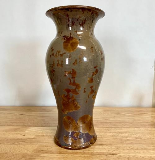 """Cafe au Lait Wide Rim Crystalline Glaze Vase 13"""""""