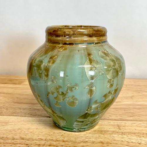 Celadon Green Vase with Light Golden Crystals Crystalline Glaze