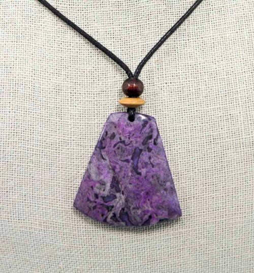Rock Art Polished Stone Pendant Jewelry, Purple Agate
