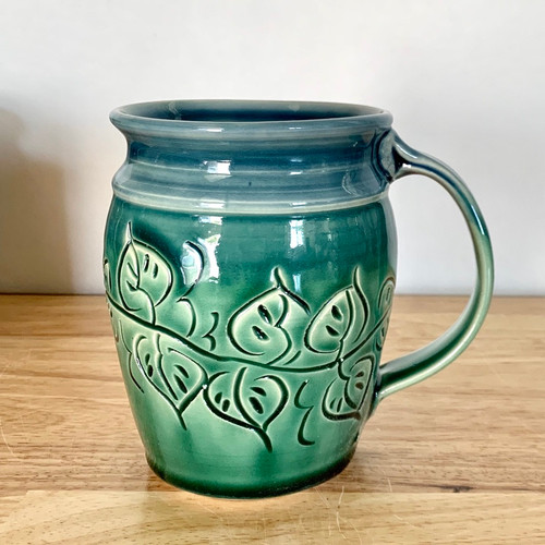 Carved Leaf Round Mug in Shadow Blue and Green 14 oz