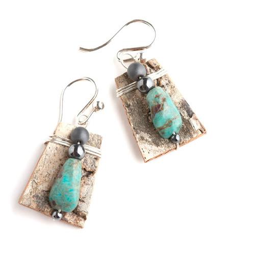 Turquoise, Hematite, Sterling Silver Earrings