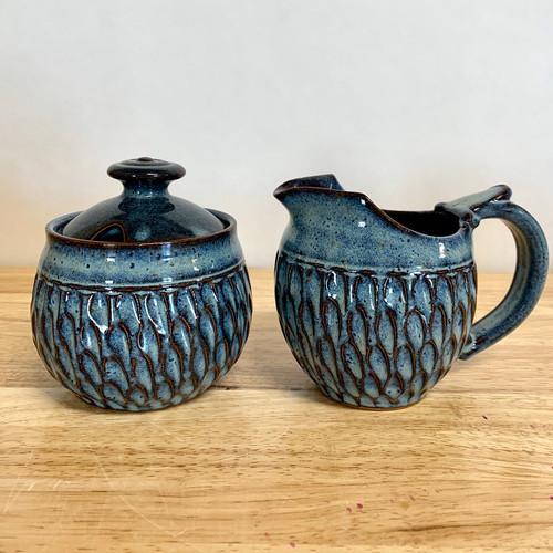 Handmade Pottery Cream and Sugar Set in Robin Blue