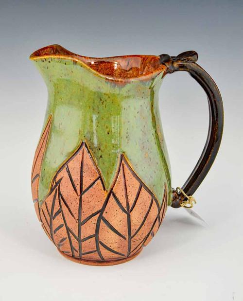 Hand Carved Medium Pitcher Green Leaf Design 30 oz