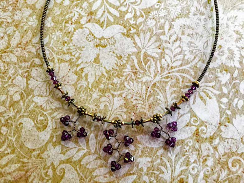 Amethyst Concerto Crystal Necklace w Magnetic Closure