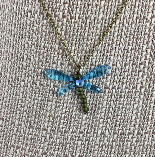 Aquamarine and Crystal Dragonfly Necklace 17 in.