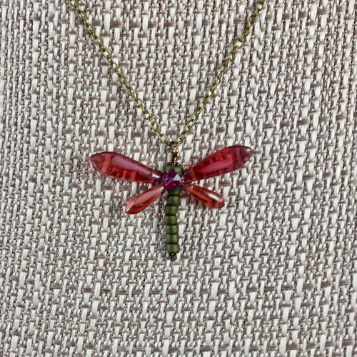 """Dragonfly Necklace  Cranberry 17"""""""