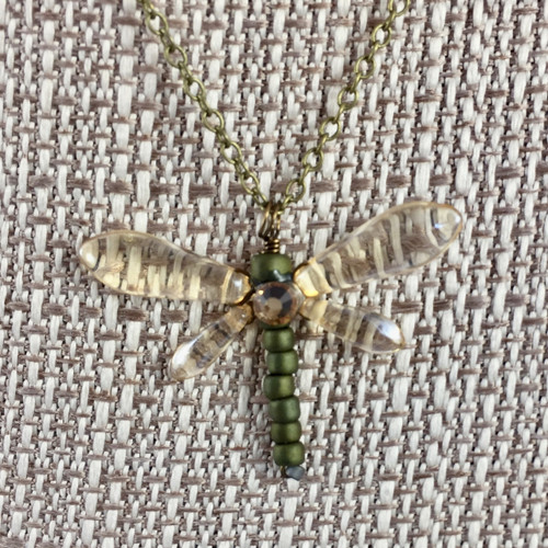 Dragonfly Necklace Champagne  17 in.