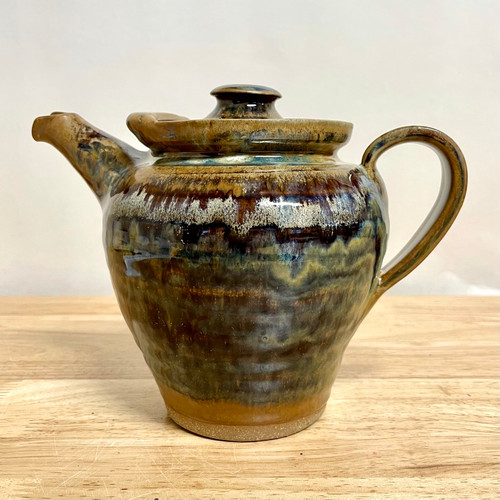 Handcrafted Stoneware Teapot Brown/Green/Blue Glaze - 32oz