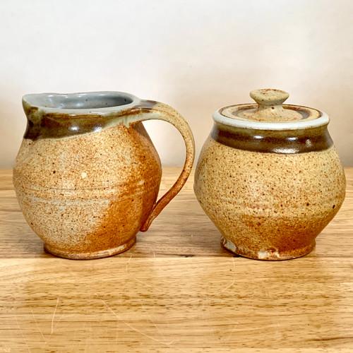 Handmade Creamer and Sugar Pottery Set - Tan with Rust