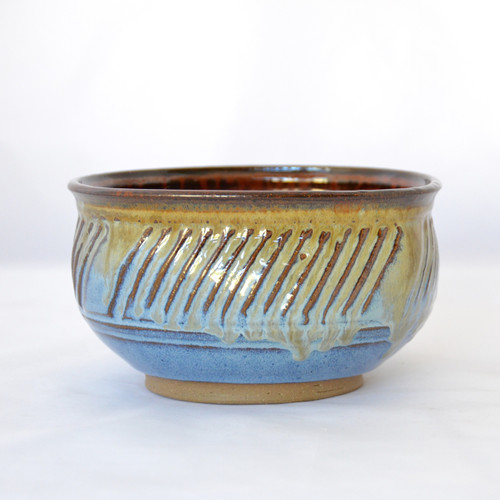 Handmade  Carved  7 In. Diameter Serving Bowl Blue and Iron Red