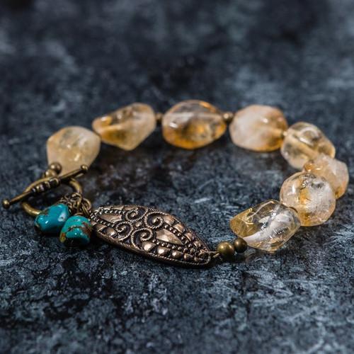 """""""Hayley"""" - Citrine, Turquoise and Bronze Bracelet"""