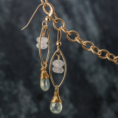 """Gemstone earrings are elegant, lightweight and so feminine! Each earring is composed of 14KT. Gold Fill components, Moonstone Briolettes and Moonstone Rondelles. The ear wires are 14KT. Gold Filled.  Earrings are 1-3/4"""" long from the tip of the ear wires to the bottom tip of the dangles."""