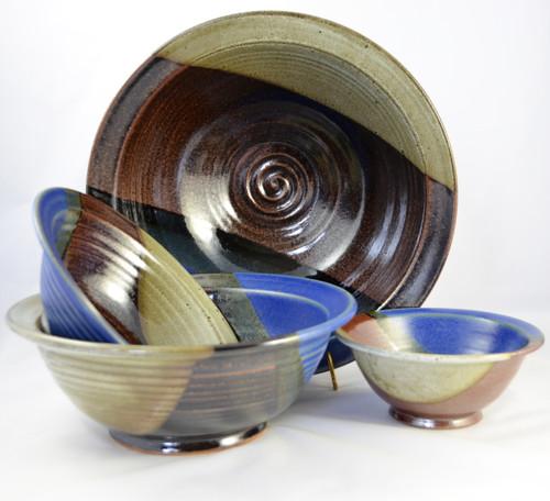 Stoneware Pottery Bowl Set Storm Glaze