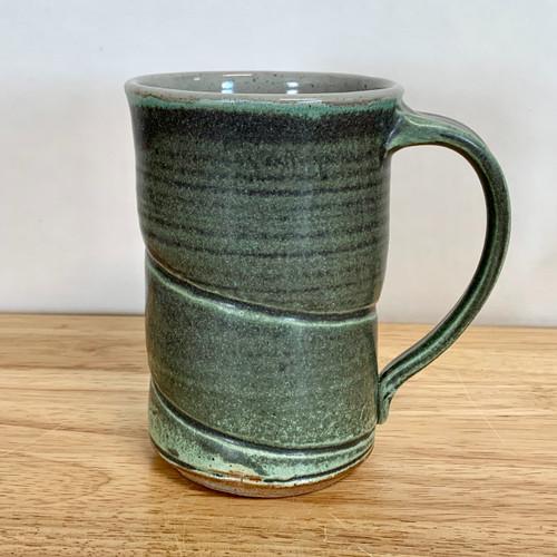 Handmade Pottery Tall Mug - Green and Gray
