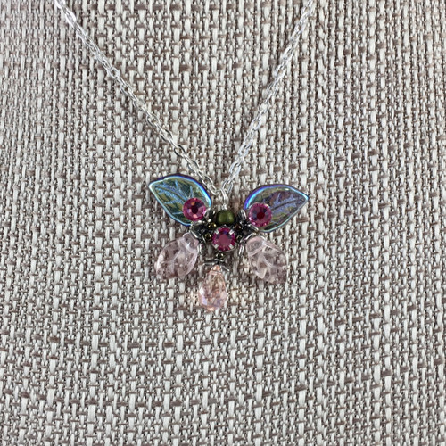 """Classic Butterfly Necklace Rose 17"""""""