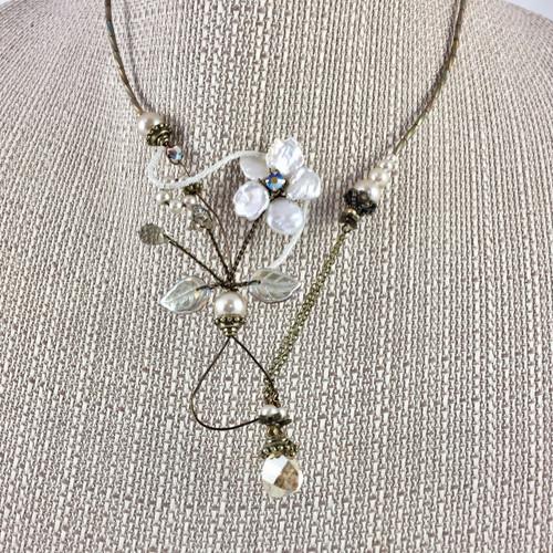 Flower Keishi Waterfall Necklace
