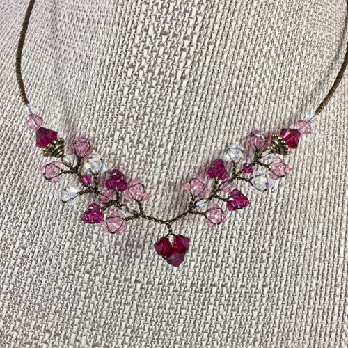 Light Pink, Cranberry and Clear Concerto Crystal Necklace w Magnetic Closure