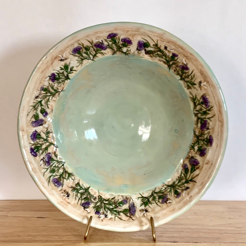 Porcelain Bowl light green with Honeybees and Lavender around the rim