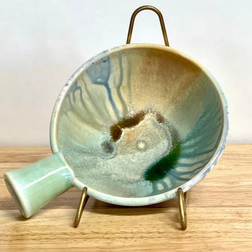 "Handle Bowl  Handmade Pottery 6.5"" Diameter"