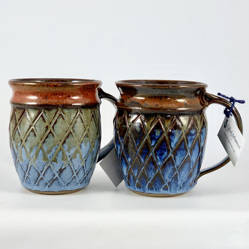 Hand-carved mug in Pineapple Pattern.  Red and Blue Glaze
