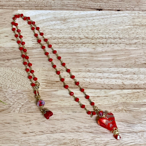 """Glass Heart Necklace 30""""  Deep Red"""