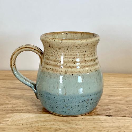 Handmade Pottery Mug Farmhouse Style Honey and Blue