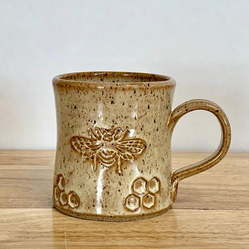Handmade Pottery Bee Mug Caramel and Honey