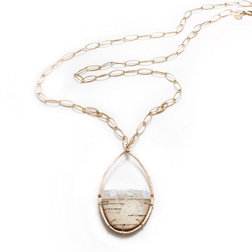 """Tessoro Etruscan Collection Natural Birch 30"""" Gold Filled Necklace"""