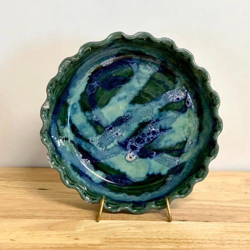 Handmade Deep Dish Pie Plate  Caribbean Glaze