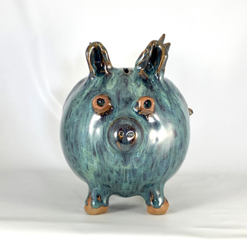 Handmade Flying Pig in Peacock Blue Glaze