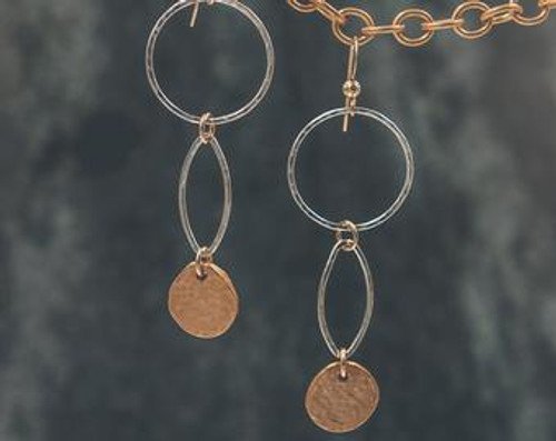 """Gold and Silver  Earrings 2"""" long"""