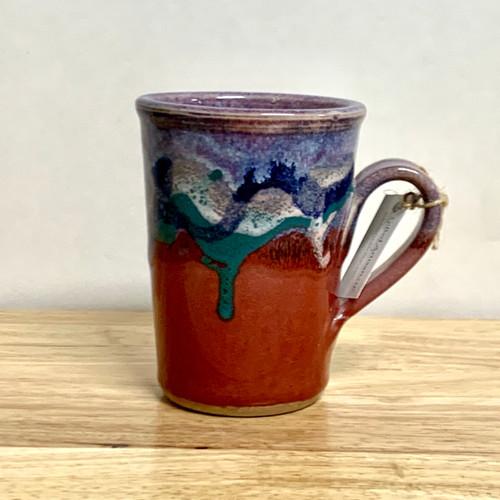 Handmade Coffee Mug  Red and Lavender