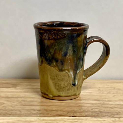 Handmade Coffee Mug  Gold Base with Navy Blue Mix