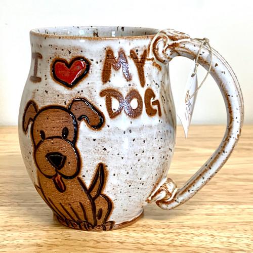 """Pottery Mug with a Saying -  """"I Love My Dog""""  Mug 14  oz"""