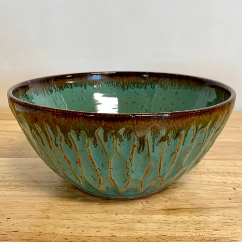 """Handmade 8"""" Serving Bowl in Greenish Teal with Carved Divots"""