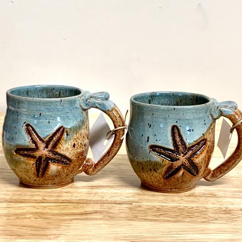 Handmade Pottery Set of Two Small Starfish Mugs Brown/Light Teal