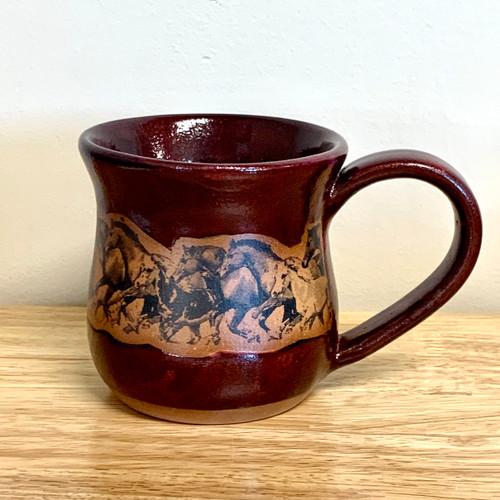 Handmade Pottery Large Red Wild Horse Scene Mug 12 - 14 oz
