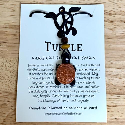 Turtle Pendant Stone Jewelry  - Black Jasper and Goldstone