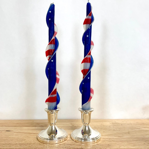 100% Beeswax Double Flare Red, White and Blue