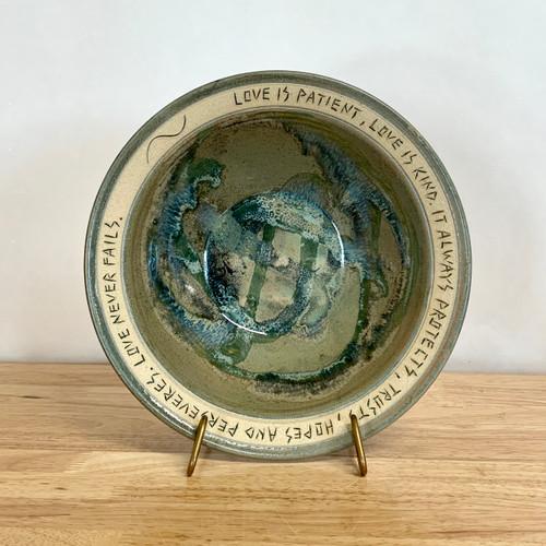 Handmade Good Friends Bowl Cream & Green Glaze