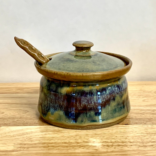 """Handmade Pottery Sauce Bowl with Spoon  7"""" Diameter in Misty River Glaze"""