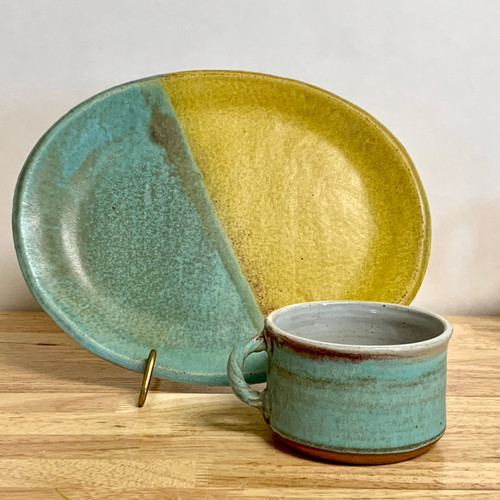 Handmade Pottery Soup and Sandwich Plate Set Blue/Yellow