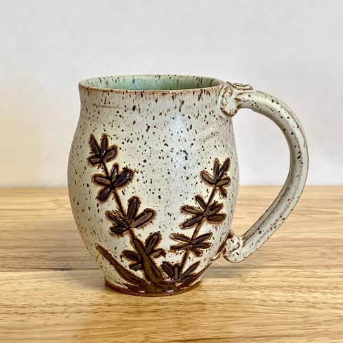 Handmade Pottery Mug Lavender Flowers on Cream Matte Base